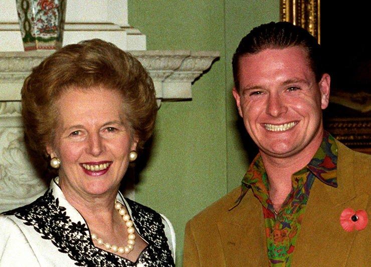 Paul Gascoigne with Margaret Thatcher.